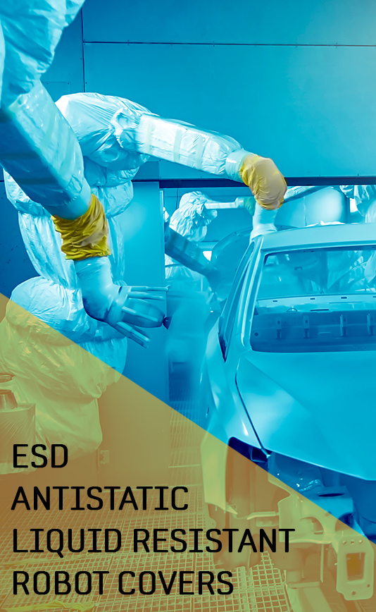 ESD antistatic fire flame reterdant resistant protective liquid water resistant paintshop robot covers